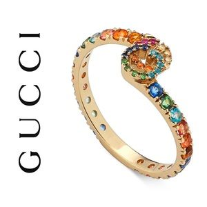 Gucci GG 18kt Yellow Gold Multi Stone Ring NWT